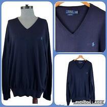 Polo Ralph Lauren 100% Pima Cotton Mens Pullover v-Neck Sweater Xxl Navy Blue Photo