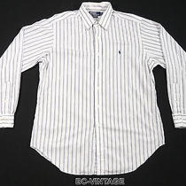 Polo Ralph Lauren Andrew Multi Pinstriped Navy Blue Pony Shirt Oxford Sail 26482 Photo