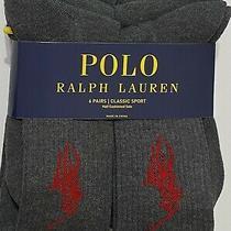 Polo Ralph Lauren Athletic 6-Pair Crew Socks Gray With Big Red Pony  Photo