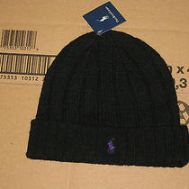 Polo Ralph Lauren Beanie Hat One Size Black Lambs Wool Nylon  New Photo