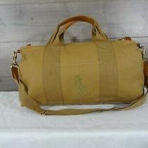 Polo Ralph Lauren Big Pony Tan Brown Canvas Leather Duffle Bag Tote Travel Bag  Photo