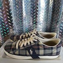 Polo Ralph Lauren Blue Plaid Men Sneakers/ Boat/ Tennis/ Deck Shoes Pre-Owned 13 Photo