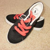 Polo Ralph Lauren Boys Fashion Sneakers Faxon Ii Black  Canvas Shoes Sz 1 M F/s Photo
