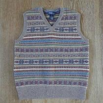 Polo Ralph Lauren Boys Lambs Wool Fair Isle Sweater Vest Size M Nwot Photo