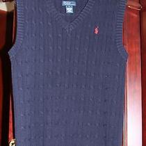 Polo Ralph Lauren Boys Size L Large Youth Navy Blue Cable Knit Sweater Vest  Photo