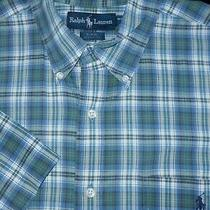 Polo Ralph Lauren Button -Big Shirt -L- Blue Green White Plaid -S/s Blaire -Pony Photo