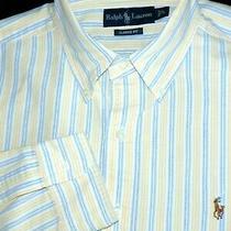 Polo Ralph Lauren Button Shirt -L- Yellow Blue White Stripe Oxford -Pony- Dress Photo