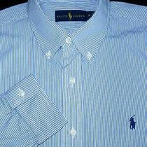Polo Ralph Lauren Button Shirt -M- Blue White Stripe -Pony Custom Trim Fit Dress Photo