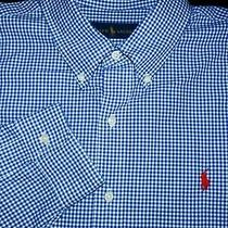 Polo Ralph Lauren Button Shirt -Xl- Navy Blue White Check - Red Pony -Dress Photo