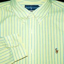 Polo Ralph Lauren Button Shirt -Xl- Yellow Blue White Stripe Oxford -Dress- Pony Photo