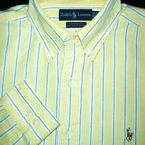 Polo Ralph Lauren Dress Shirt -15.5 34/35- Yellow White Blue Stripe Oxford -Pony Photo