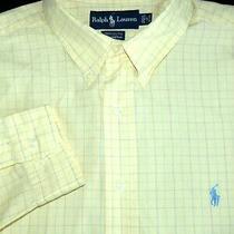 Polo Ralph Lauren Dress Shirt -17 32/33- Yellow Blue Soft Check -Pony -Yarmouth Photo