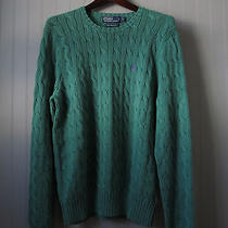 Polo Ralph Lauren Green Pima Cotton Cableknit Sweater Size L Photo