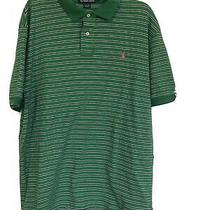 Polo Ralph Lauren Green White Stripe Short Sleeve Polo Shirt Mens Xl Photo