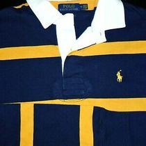 Polo Ralph Lauren L/s Rugby Shirt -M- Blue Yellow White -Pony Custom Slim -Golf Photo