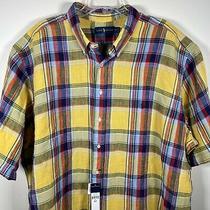Polo Ralph Lauren Linen Button Down Shirt Plaid Pony Yellow Blue Red 3xlt Tall Photo