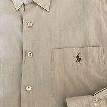 Polo Ralph Lauren Long Sleeve Button Down. Crane 100 % Cotton. Size L Tan Photo