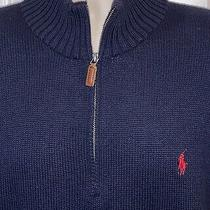 Polo Ralph Lauren Mens 1/4 Zip Up Pullover Sweater Size Large Navy Blue Photo