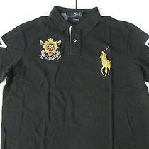 Polo Ralph Lauren Men's Black Watch Custom-Fit Black Mesh Polo L Photo