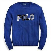 Polo Ralph Lauren Mens Knit Sweater Blue Spell Out Felt Logo Sz Small Nwt 148 Photo