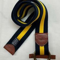 Polo Ralph Lauren Men's Striped Cotton Leather Accent Pony Logo Belt O Ring  Photo