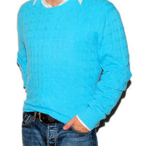 Polo Ralph Lauren Mens Blue Cashmere Cable Sweater Blue Aqua Xl Photo