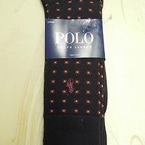 Polo Ralph Lauren Mens Casual Dress Socks Navy Gold Dots Sock Size 10-13 New Nwt Photo