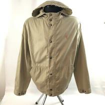 Polo Ralph Lauren Mens Large Jacket Khaki Tan Full Zip Hooded Snap Button Cotton Photo