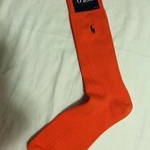 Polo Ralph Lauren Mens New Orange Cotton Blend Dress Socks Shoe Size 6-12 1/2 Photo