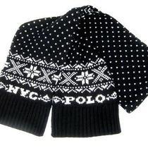 Polo Ralph Lauren Mens New York Scarf Black Multicolor Wool Nyc Snowflake 275 Photo