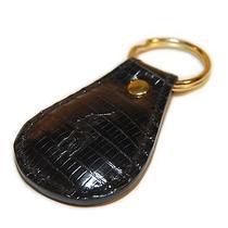 Polo Ralph Lauren Mens Women Alligator Leather Key Ring Chain Fob Usa Black Gold Photo