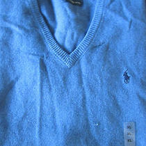 Polo Ralph Lauren Other Blue Classic v-Neck Polo Player 100% Lambs Wool Vest Xl Photo