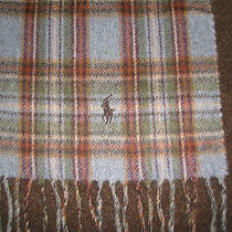Polo-Ralph Lauren Plaid Reversible Lambs Wool Scarf (Made in Italy)  Photo