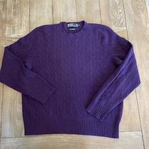 Polo Ralph Lauren Purple Cable Knit Cashmere Crew Neck Sweater Large Photo