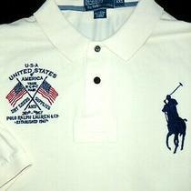 Polo Ralph Lauren Shirt -Xxl- Ivory White -Big Pony- Usa Flag Crest -Golf -Mint Photo