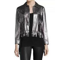 Polo Ralph Lauren Silver Leather Fringe Jacket Size 6 Photo