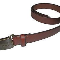 Polo Ralph Lauren Slim Brown Leather Antique Brass Monogram Buckle Belt 34 Photo