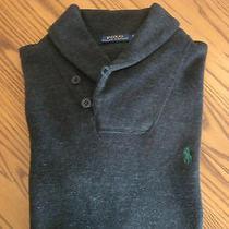 Polo Ralph Lauren Sweater 1/2 Button Medium Long Sleeve Dark Grey W/green Pony  Photo