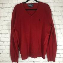 Polo Ralph Lauren v Neck Lambs Wool Sweater Mens Medium Red Blue Pony Photo
