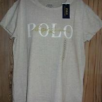 Polo Ralph Lauren Women's Signature T-Shirt Tan & Gold Size Large Nwt 49 Photo