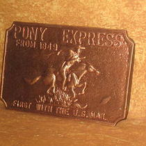 Pony Express Copper Color Belt Buckle First With the U.s. Mail 3.5