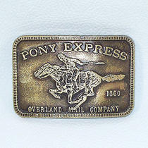 Pony Express Overland Mail Company Brass Belt Buckle Postal Mail Carrier Photo
