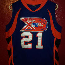 Pony X Press Basket Ball Tank Top Shirt Jersey 21 Express Stitched-on Sewn Sz S Photo