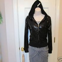 Poof Black All Sequin Hoodie-See Great Large Pics- Gorgeous Fancy Hoody S Photo