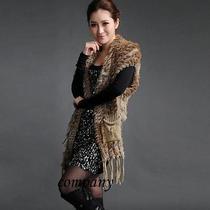Pop Farms Knit Amazing Warm Fur Shawl Cape Scarves Outwear Wrap Lavish Shiny Photo