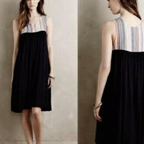 Porridge Anthropologie Navy Dress Striped Yoke Size Medium Photo