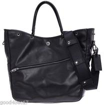 Porter Luggage Label Element 2way Tote Bag Black Yoshida Leather Shoulder Work  Photo