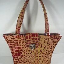 Poses Croc Crocodile Embossed Handbag Purse Red & Tan Photo