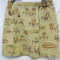 Postmark 9-H15 Stcl Anthropologie Skirt Wrap Tan Chairs Print Leather Buckle 10  Photo