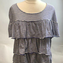 Postmark Anthropologie Tiered Ruffle Striped T-Shirt Top Blue White Large Photo